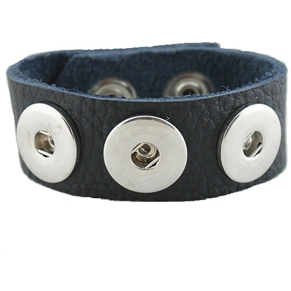 Leather Snap Chunk Charm Bracelet Black Textured Grain Soft Small Size 22cm - Beads and Dangles