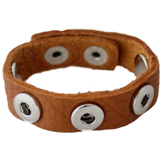 Leather Snap Chunk Charm Bracelet for 12mm Petite Snaps Child Size Light Brown - Beads and Dangles