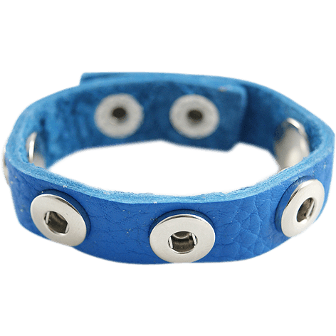 Leather Snap Chunk Charm Bracelet for 12mm Petite Snaps Child Size Sapphire Blue - Beads and Dangles
