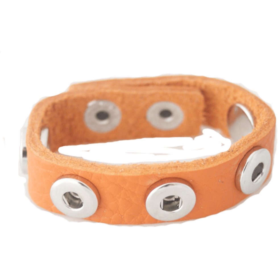Leather Snap Chunk Charm Bracelet for 12mm Petite Snaps Child Size Orange - Beads and Dangles