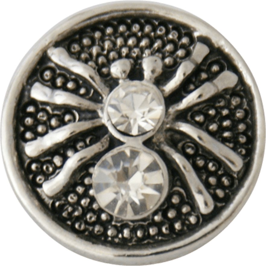 "Snap Charm Metal Spider with Rhinestones 20mm, 3/4"" Diameter - Beads and Dangles"