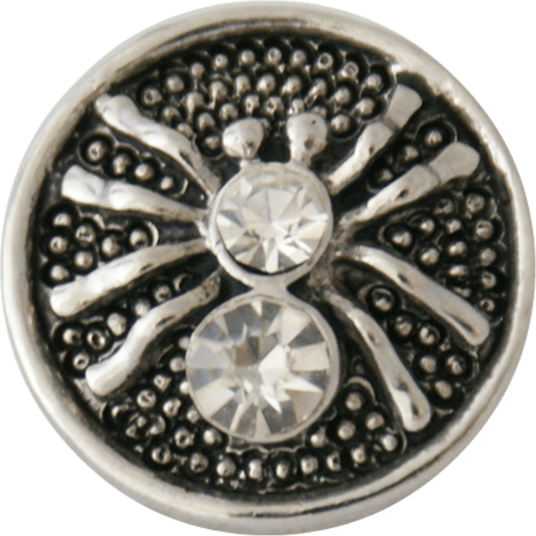 "Chunk Snap Charm Metal Spider with Rhinestones 20mm, 3/4"" Diameter - Beads and Dangles"