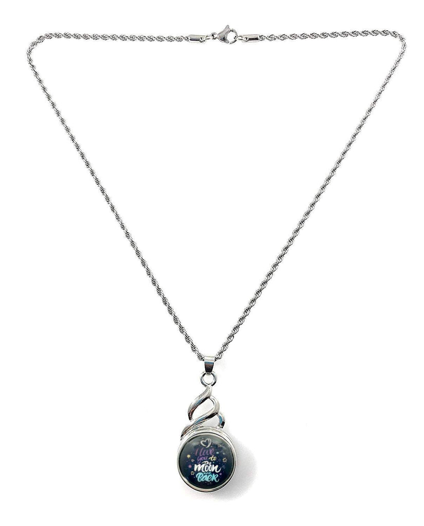 "Snap Pendant with I Love You to the Moon and Back Snap and 18"" Stainless Steel Necklace - Beads and Dangles"