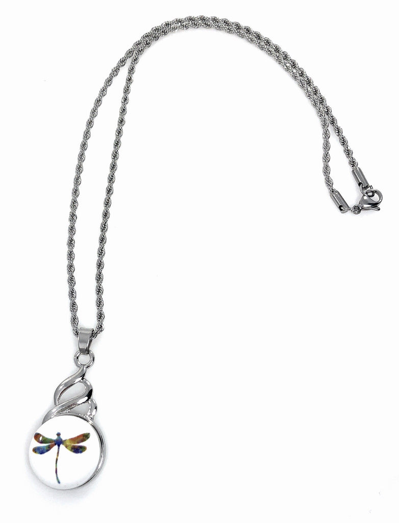 "Snap Pendant Includes Dragonfly Snap and 18"" Stainless Steel Necklace"