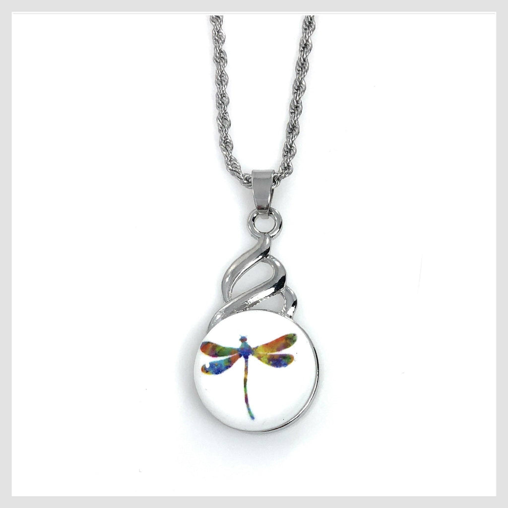 "Snap Pendant Includes Dragonfly Snap and 18"" Stainless Steel Necklace - Beads and Dangles"