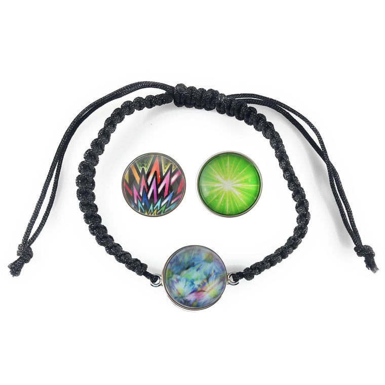 Chunk Snap Charm Black Braided Bracelet Includes 3 Standard Snaps Shown - Beads and Dangles