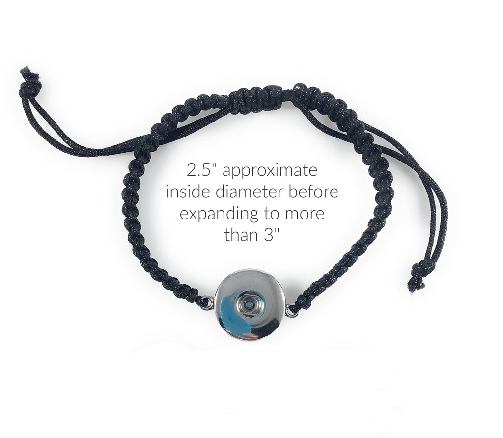 Black Braided Bracelet for Standard Snaps 20mm 3/4""