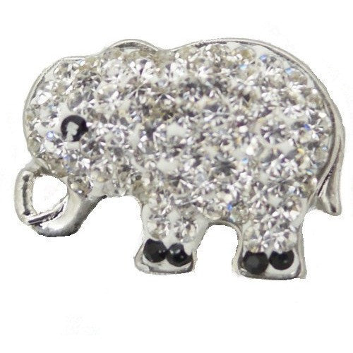 Chunk Snap Charm Elephant Rhinestones 20mm - Beads and Dangles