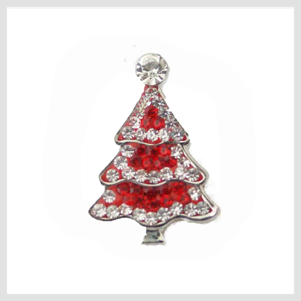 "Christmas Tree Red Crystals 20mm 3/4"" - Beads and Dangles"