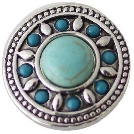 "Chunk Snap Charm Turquoise Center with Border 20 mm 3/4"" Diameter - Beads and Dangles"