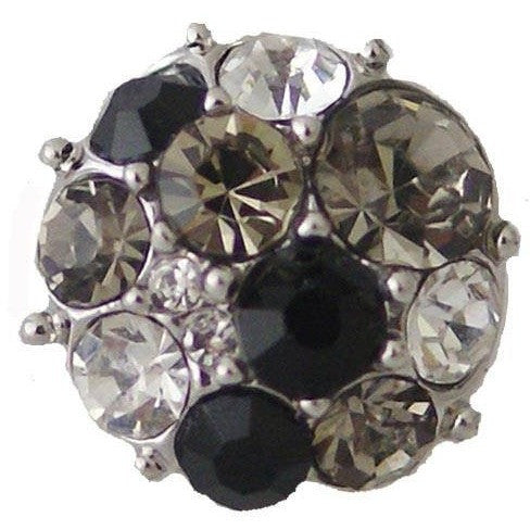 "Chunk Snap Charm Mini Petite 12mm Clear and Black Rhinestones 1/2"" diameter - Beads and Dangles"