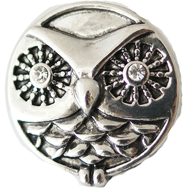 Chunk Snap Charm Metal Owl 20 mm - Beads and Dangles