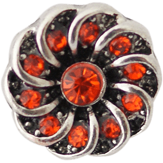 Chunk Snap Charm Petite 12mm Red Crystal Center and Swirl Border - Beads and Dangles
