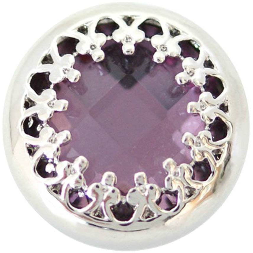 "Chunk Snap Charm Purple Stone 20mm 3/4"" Diameter - Beads and Dangles"