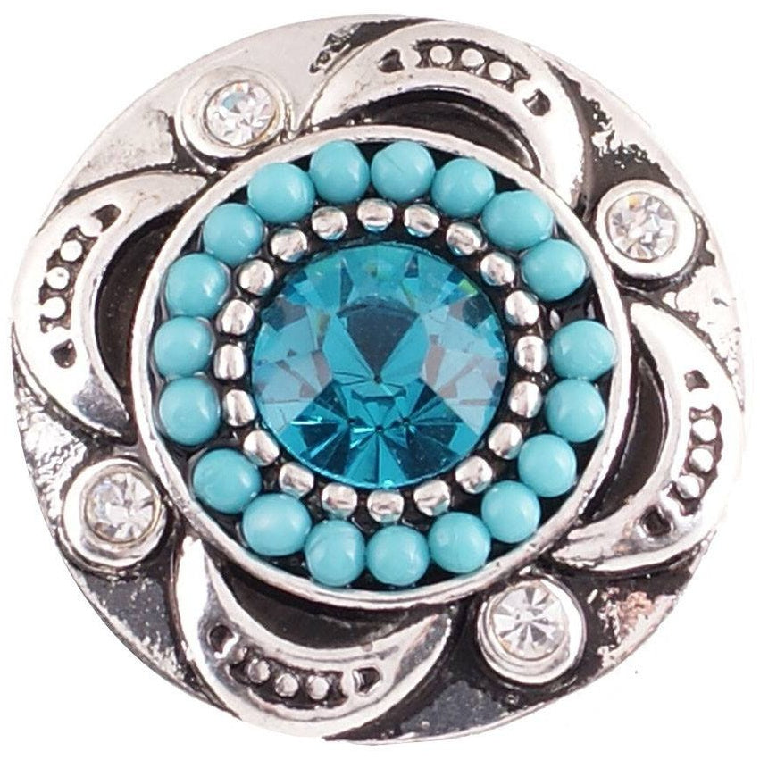 "Chunk Snap Charm Aquamarine Stone Turquoise Bead Border 20mm 3/4"" Diameter - Beads and Dangles"