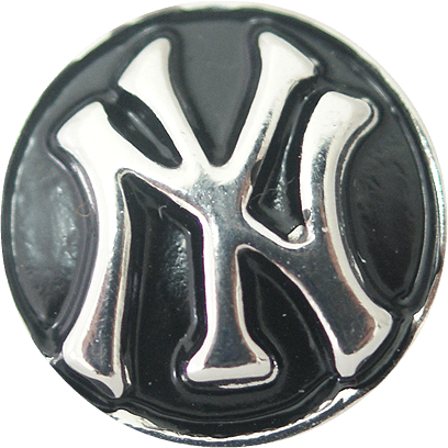 "Chunk Snap Charm NY and Yankees Symbol 20 mm 3/4"" diameter - Beads and Dangles"