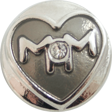 Chunk Snap Charm Mom with Heart - Beads and Dangles