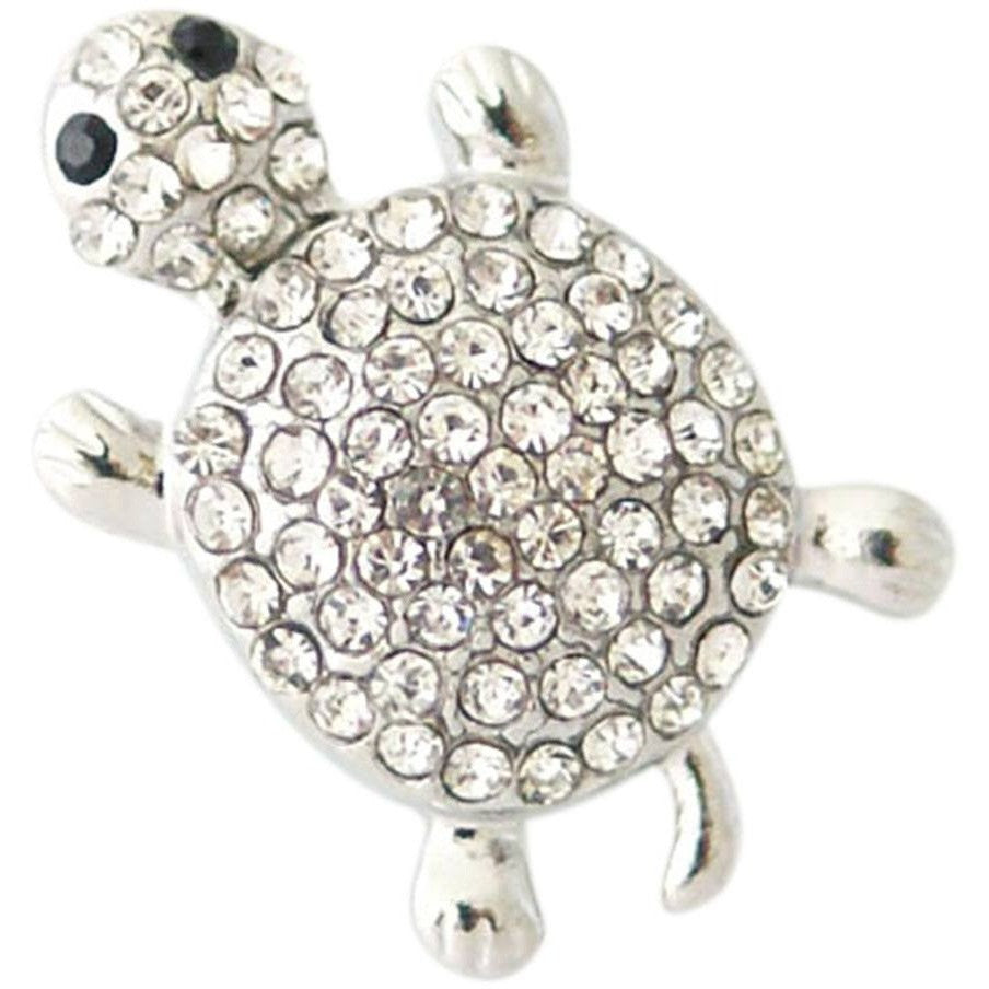 Chunk Snap Charm Turtle Clear Rhinestones 20 mm - Beads and Dangles