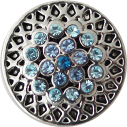 Chunk Snap Charm Petite 12mm Aquamarine Crystals - Beads and Dangles