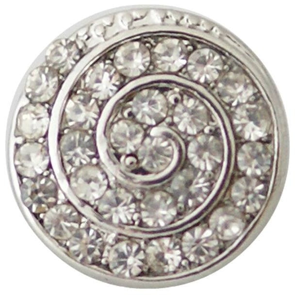 "Chunk Snap Charm Petite 12mm Clear Rhinestone Swirl, 1/2"" Diameter - Beads and Dangles"