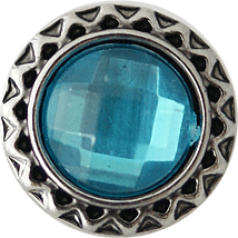 "Chunk Snap Charm Petite 12mm Turquoise Crystal, 1/2"" Diameter - Beads and Dangles"