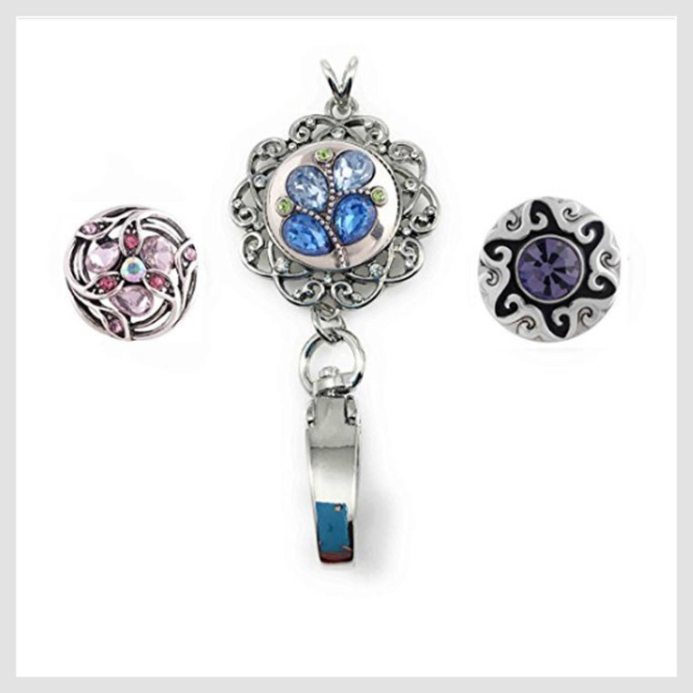 "Snap Charm ID Badge or Pass Holder with 3 Standard Snaps 3/4"" Diameter - Beads and Dangles"