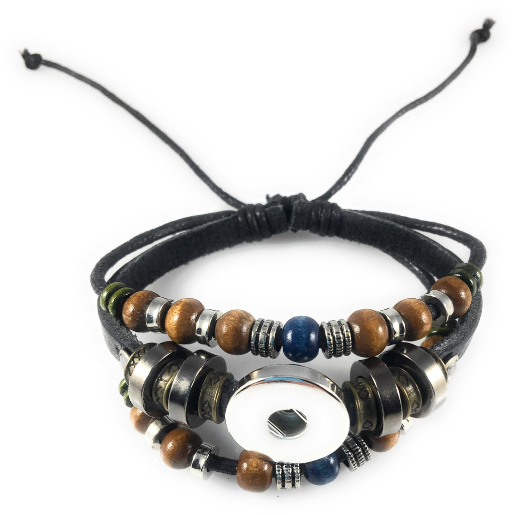 Snap Charm Black Leather Beaded Bracelet for One Standard Size Snap - Adjustable - Beads and Dangles