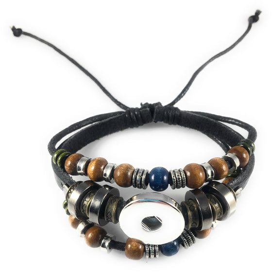 Chunk Snap Charm Black Leather Beaded Bracelet for One Standard Size Snap - Adjustable - Beads and Dangles