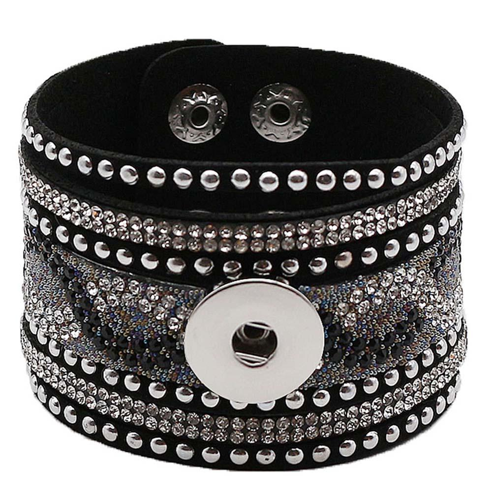 "Boho Black Leather Bling Cuff Bracelet for 20mm 3/4"" Includes Snap Shown - Beads and Dangles"