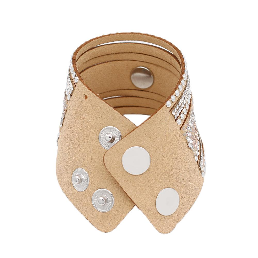 "Boho Tan Leather Bling Cuff Bracelet for 20mm 3/4"" - Beads and Dangles"