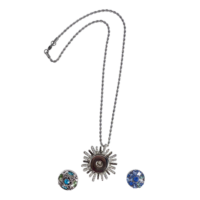 "Snap Charm Pendant Necklace Starburst Bling Clear Crystals Includes 2 Standard Snaps Shown 18"" Chain"
