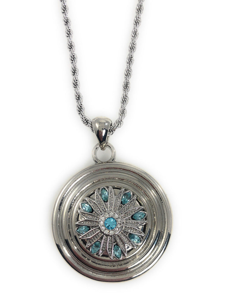 "Pendant with Concentric Circles 18"" Chain for Standard Snaps 20mm 3/4"" Includes Two Snaps Shown"