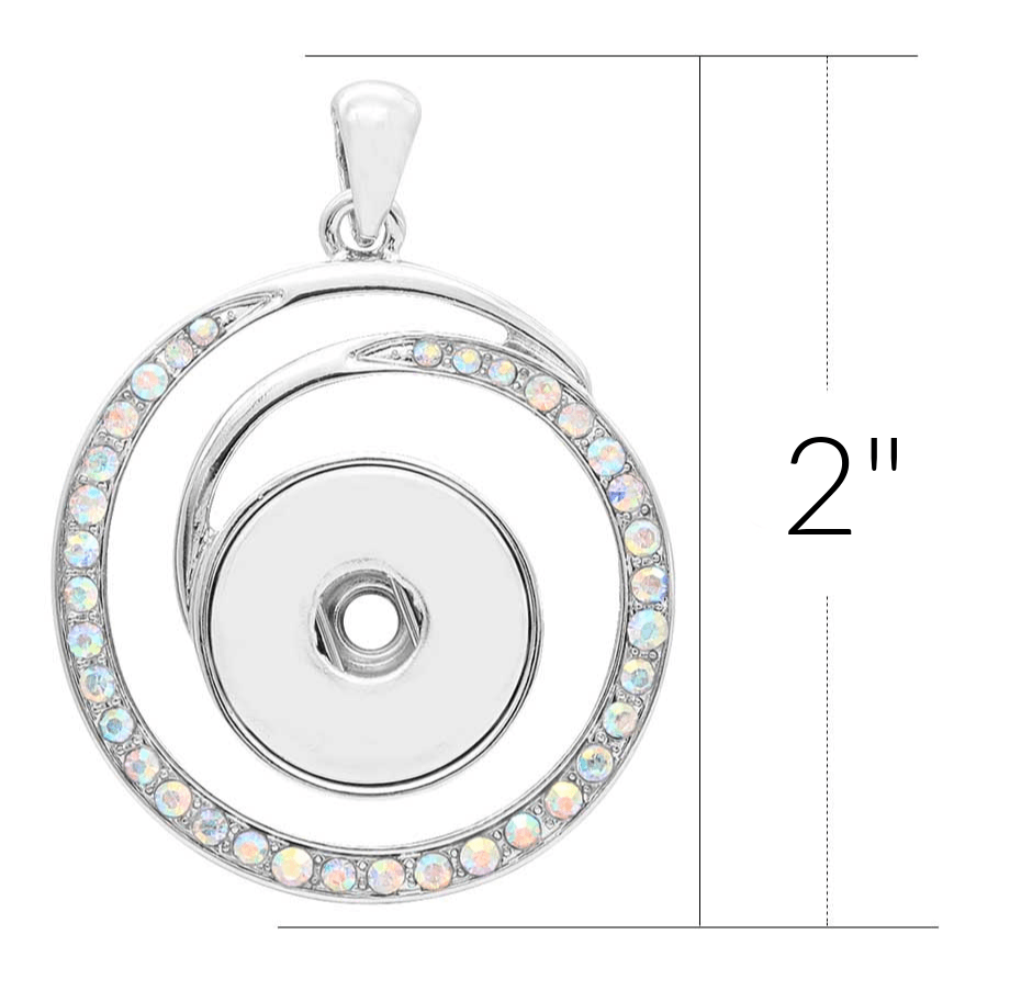 "Pendant Snap Charm Set with AB Crystals 18"" Chain Includes Two Snaps - Beads and Dangles"