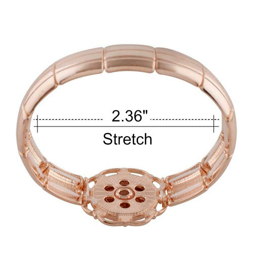 "Rose Gold Stretch Bracelet 20mm for 3/4"" Snaps"