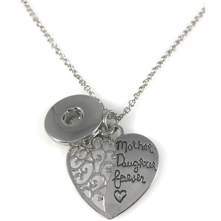 "Snap Charm Pendant Mother Daughter Forever 18"" Chain Fits Standard Size Ginger Snaps - Beads and Dangles"