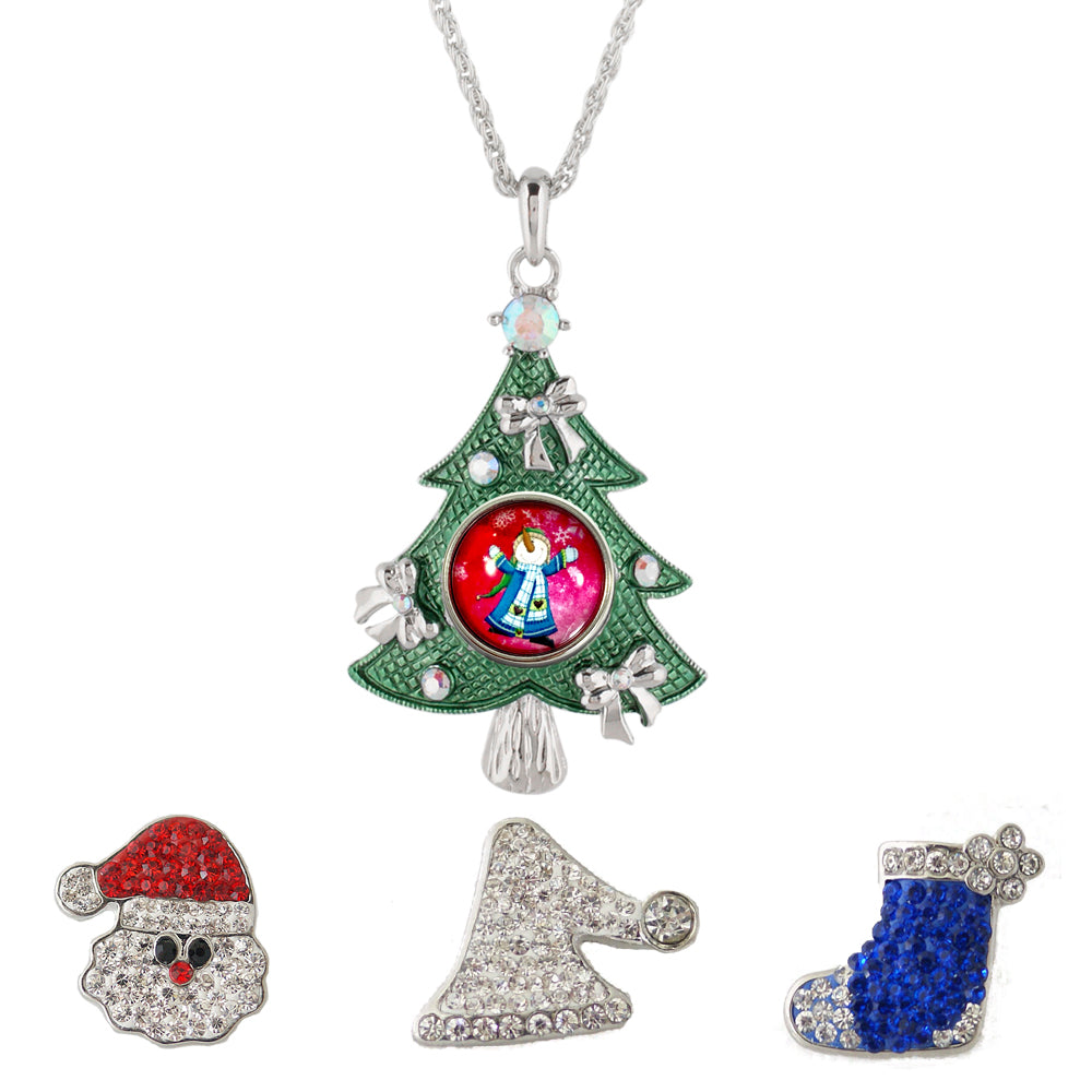 Snap Charm Christmas Tree Large Pendant Necklace Includes 4 Snaps Shown