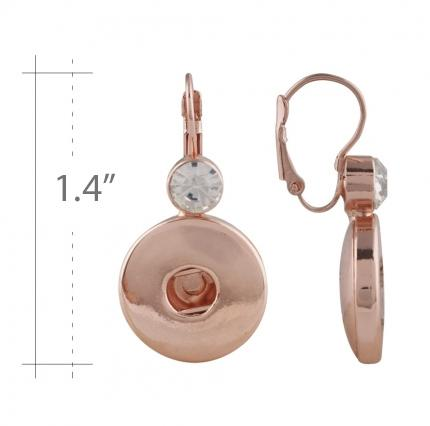 "Earrings Rose Gold Plated Clear Stones 20mm 3/4"" Includes Pearl Snaps Shown - Beads and Dangles"
