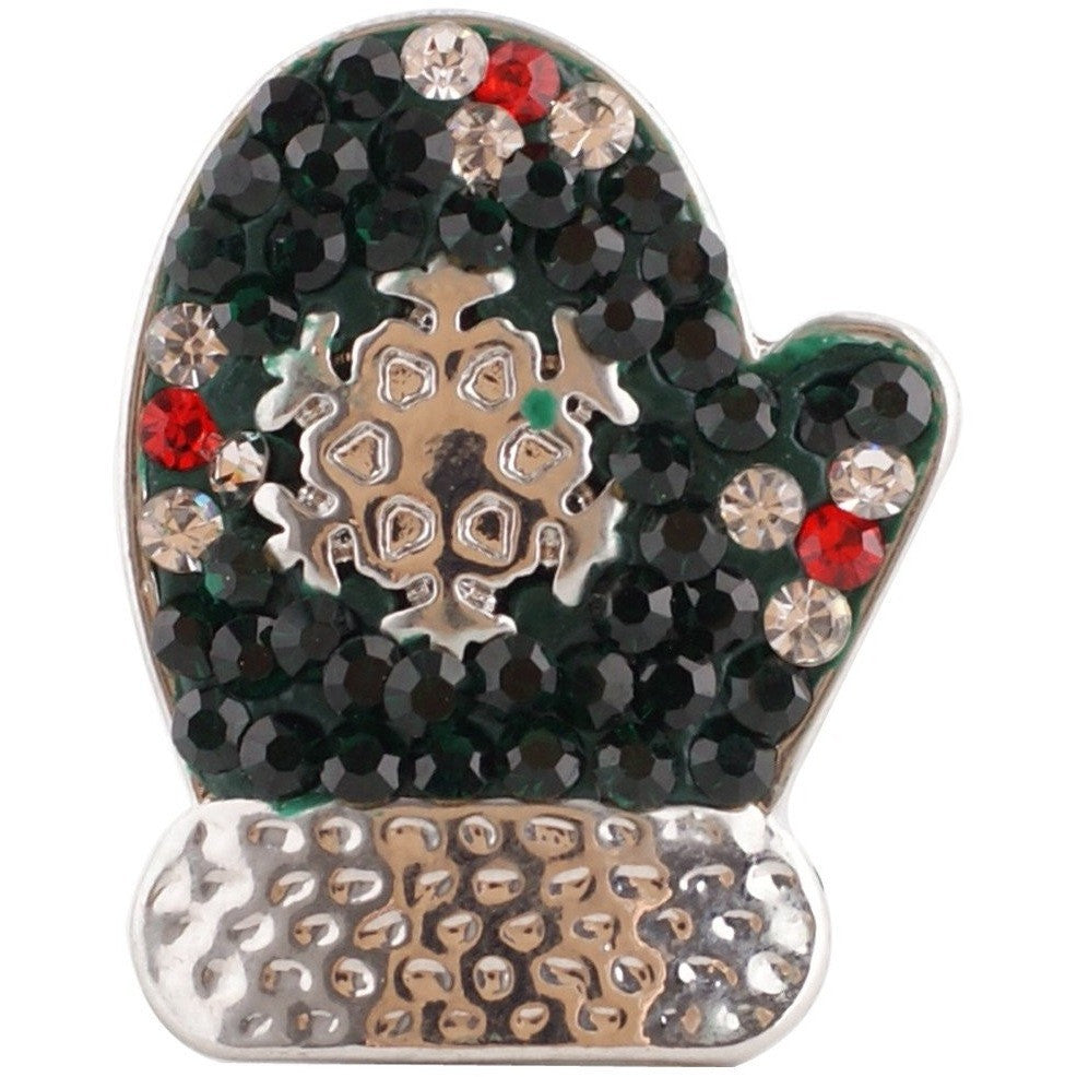 "Christmas Mitten Green Crystals 20mm 3/4"" - Beads and Dangles"