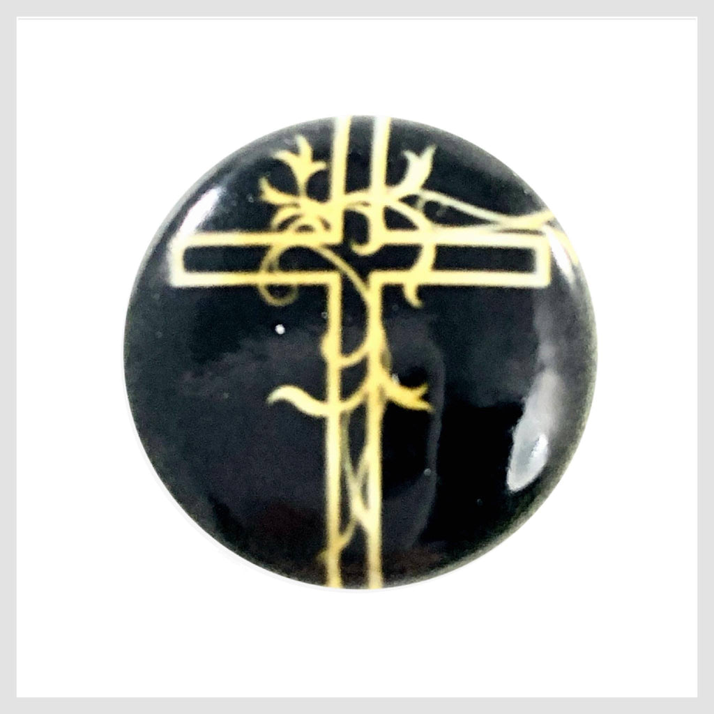 Painted Enamel Gold Cross 20mm - Beads and Dangles