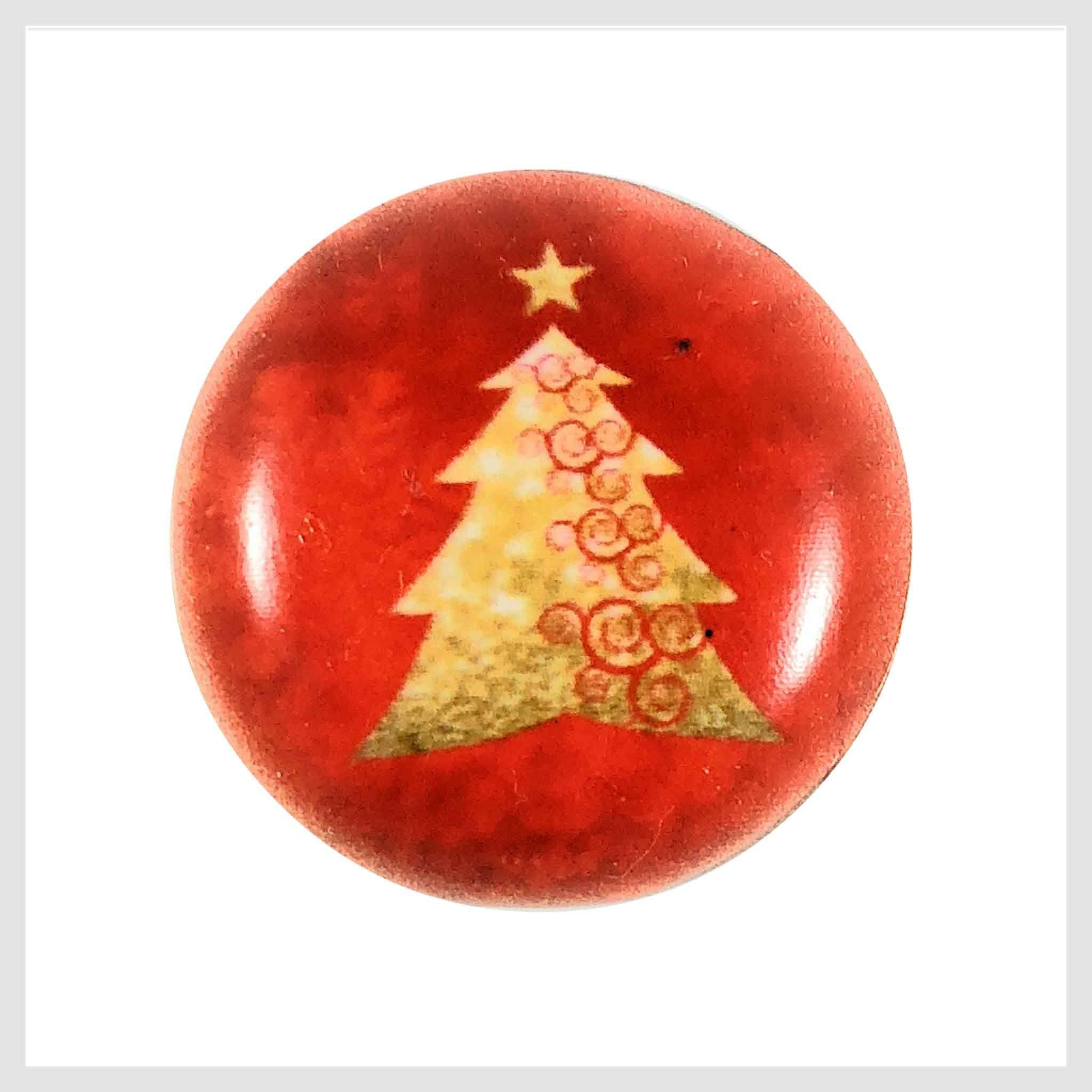 Painted Enamel Gold Christmas Tree Orange Red Color 20mm