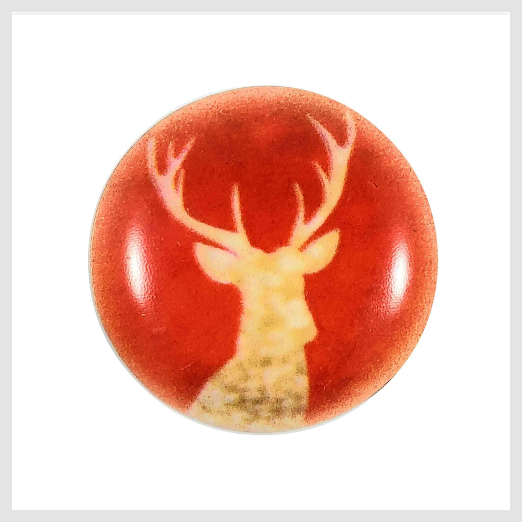 Painted Enamel Gold Reindeer Elk Orange-Red Color 20mm