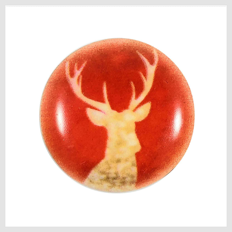 Painted Enamel Gold Reindeer Elk Orange-Red Color 20mm - Beads and Dangles