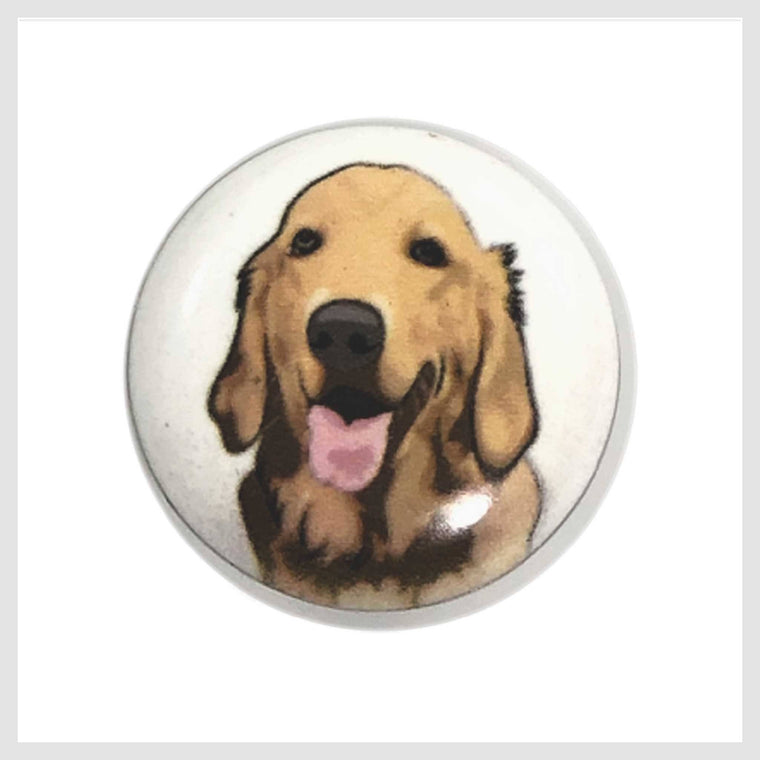 Dog Painted Enamel Golden Retriever 20mm - Beads and Dangles
