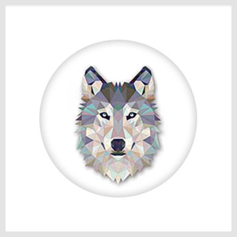 Painted Enamel Gray She-Wolf 20mm - Beads and Dangles
