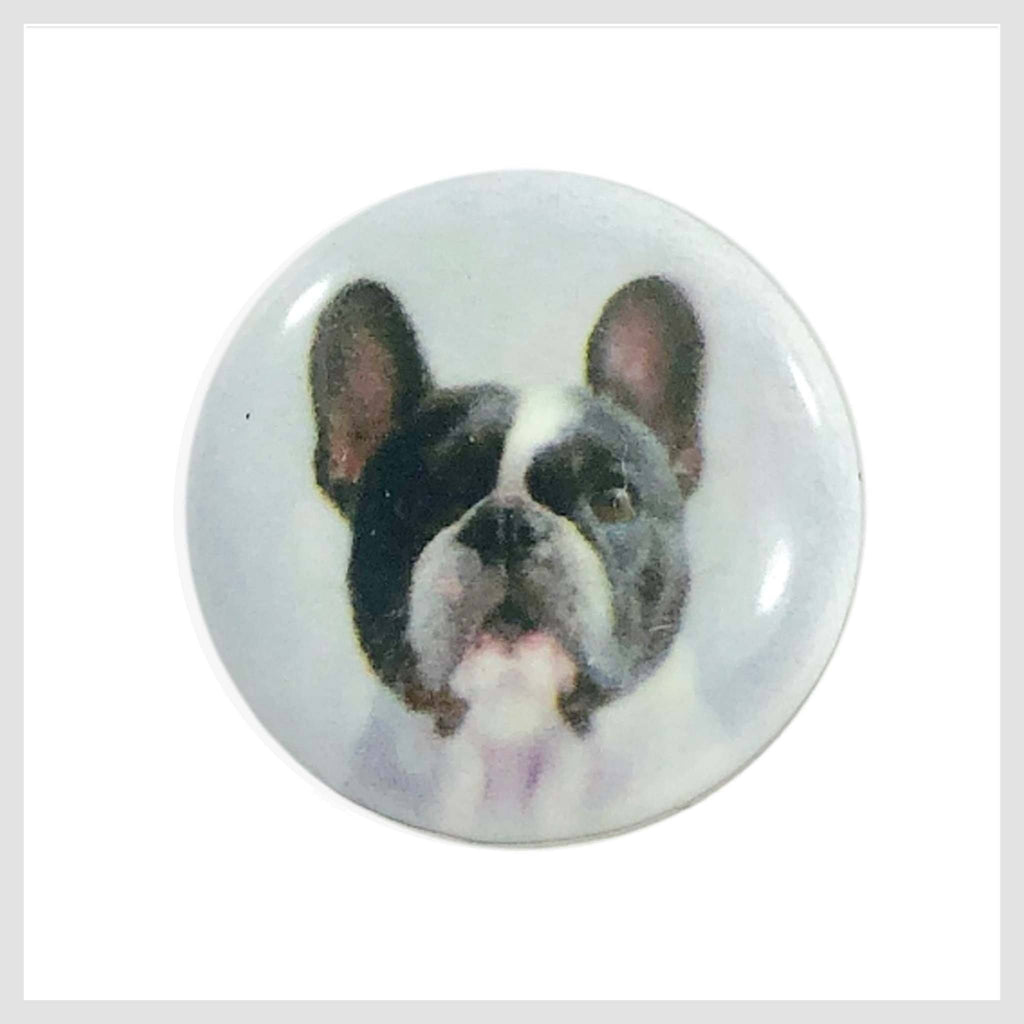 Snap Charm Dog Boston Terrier Painted Enamel 20mm - Beads and Dangles