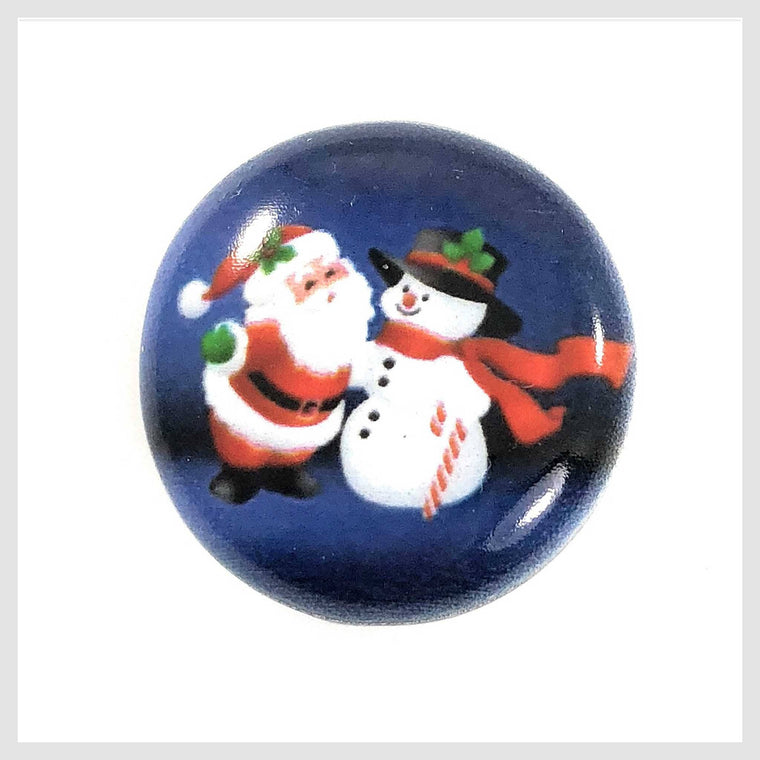 Painted Enamel Christmas Snowman and Santa Claus 20mm