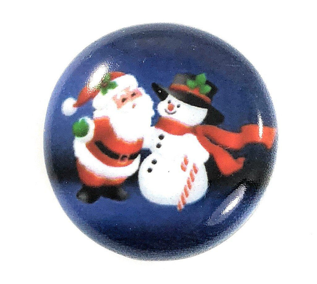 Painted Enamel Christmas Snowman and Santa Claus 20mm - Beads and Dangles