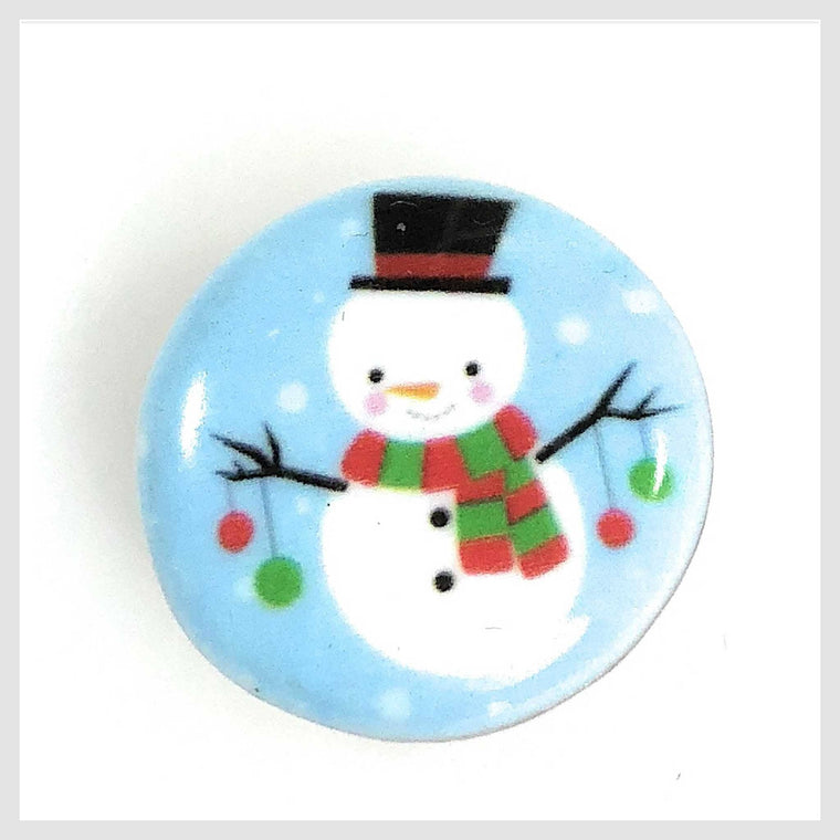 Painted Enamel Christmas Snowman 20mm