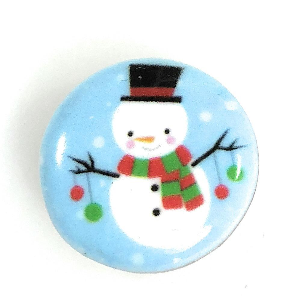 Painted Enamel Christmas Snowman 20mm - Beads and Dangles