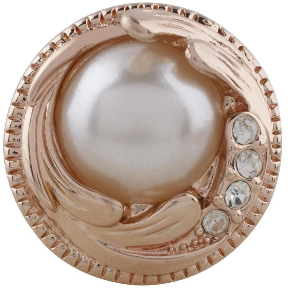 "Snap Charm Rose Gold Swirl Pearl Clear Crystals 20mm Standard 3/4"" Diameter Fits Ginger Snaps - Beads and Dangles"